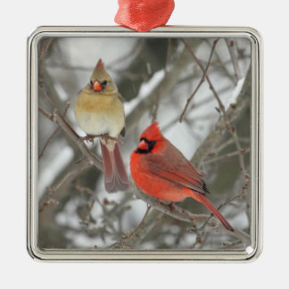 Northern Cardinals Metal Ornament