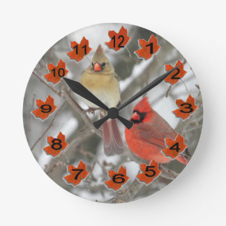 Northern Cardinals Round Clock