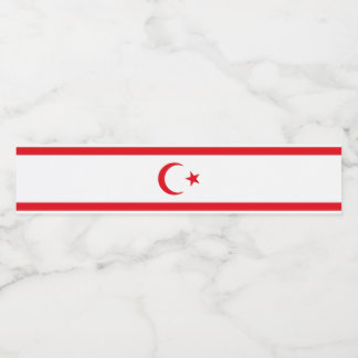 Northern Cyprus Flag Water Bottle Label