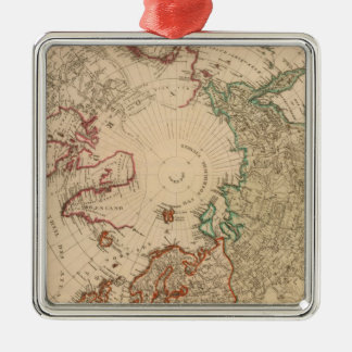Northern Hemisphere, Arctic Silver-Colored Square Ornament