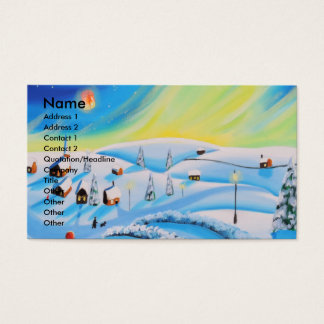 Northern lights and a lantern business card
