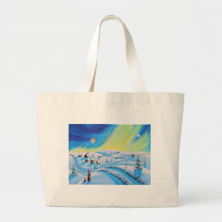 Northern lights and a lantern large tote bag