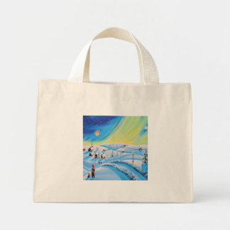 Northern lights and a lantern mini tote bag