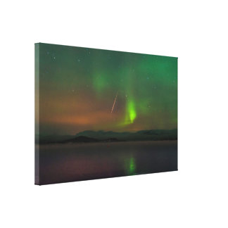 Northern Lights and Geminid Meteor Canvas Print
