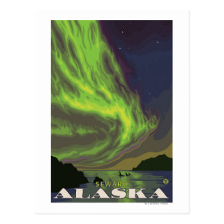 Northern Lights and Orcas - Seward, Alaska Postcard
