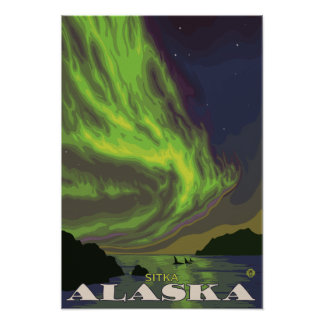Northern Lights and Orcas - Sitka, Alaska Poster