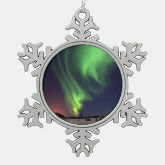 Northern Lights at Bear Lake Snowflake Pewter Christmas Ornament