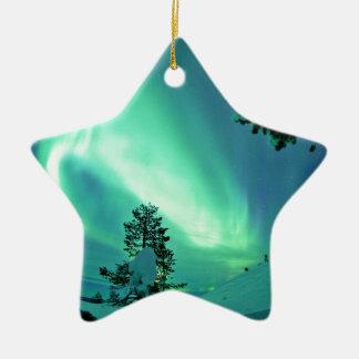 Northern Lights at Winter Ceramic Star Ornament