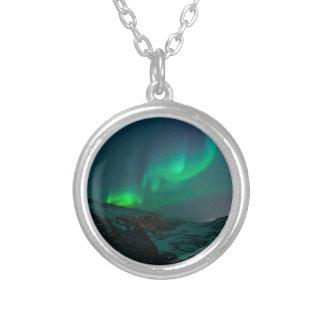 Northern Lights Aurora Borealis Custom Personalize Round Pendant Necklace