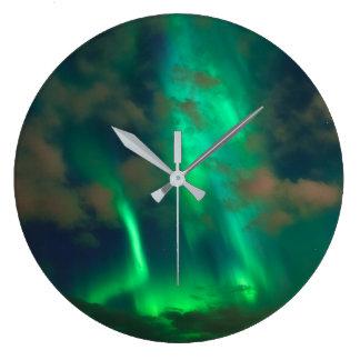 Northern Lights, Aurora Borealis Large Clock