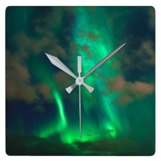 Northern Lights, Aurora Borealis Square Wall Clock