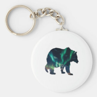 Northern Lights Basic Round Button Keychain