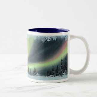 NORTHERN LIGHTS by SHARON SHARPE Two-Tone Coffee Mug