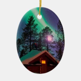 Northern Lights Ceramic Oval Ornament