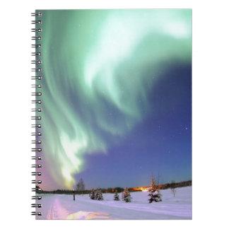 Northern Lights Chic Ribbon Of Lights Jade Glow Notebook
