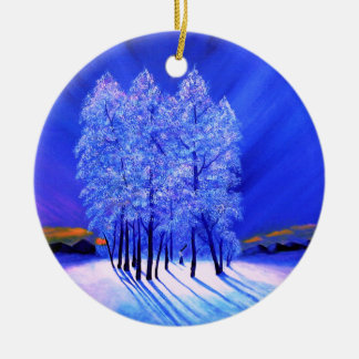 Northern Lights Christmas Snow Trees Round Ceramic Ornament