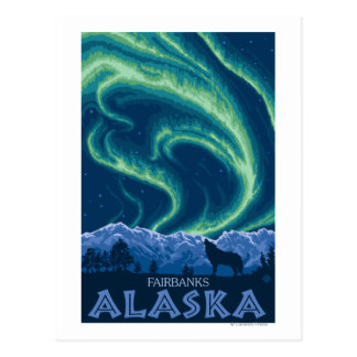 Northern Lights - Fairbanks, Alaska Postcard