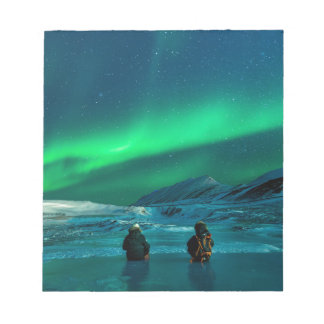 Northern lights green landscape couple notepad