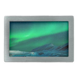 Northern lights green landscape couple rectangular belt buckles