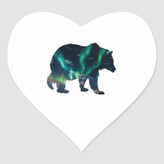 Northern Lights Heart Sticker
