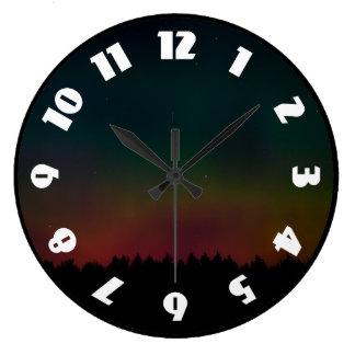 Northern Lights Landscape Wall Clocks