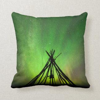 Northern lights lavvu throw pillow