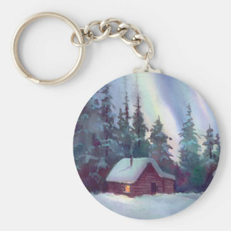 NORTHERN LIGHTS & LOG CABIN KEYCHAIN