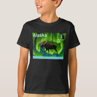 Northern Lights Moose - Alaska Postage T-Shirt