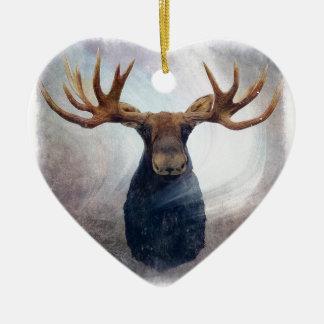 Northern Lights Moose Ceramic Heart Ornament