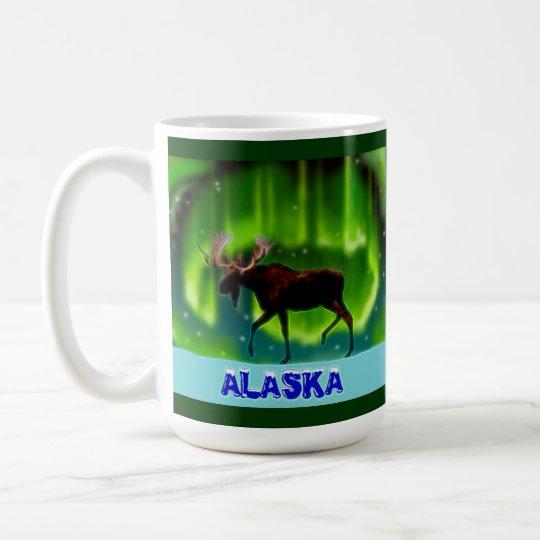 Northern Lights Moose Coffee Mug