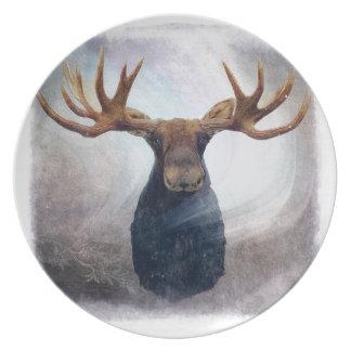 Northern Lights Moose Dinner Plate