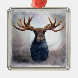 Northern Lights Moose Silver-Colored Square Ornament