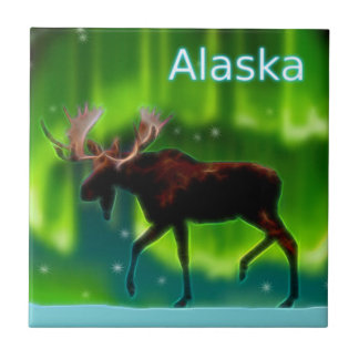 Northern Lights Moose Tile