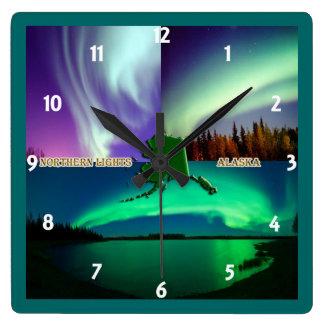 Northern Lights of Alaska Collage Clock