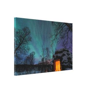 Northern Lights over a Sami Hut Canvas Print