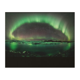 "Northern Lights Over Iceland-10""x8"" Wood Wall Art Wood Canvas"