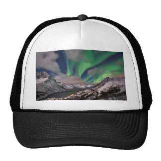 northern lights over winter landscape trucker hat