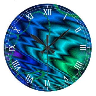 Northern Lights Round Roman Numerals Clock