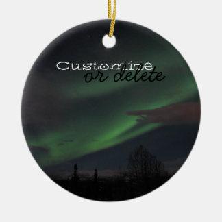 Northern Lights Show; Customizable Ceramic Ornament