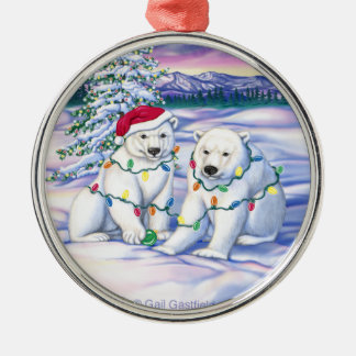 Northern Lights Silver-Colored Round Ornament