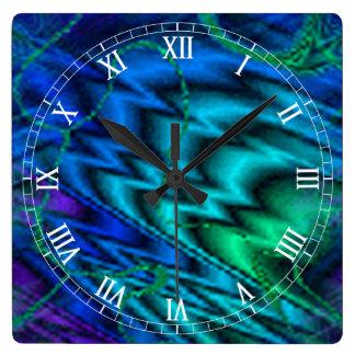 Northern Lights Square Roman Numerals Clock