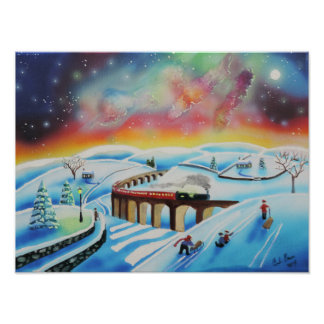 Northern lights train landscape painting poster