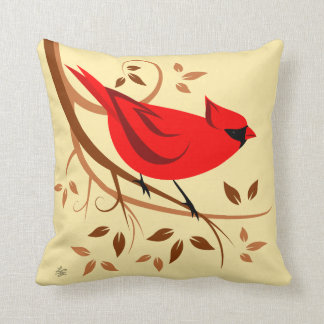 Northern Male Cardinal Design Throw Pillow