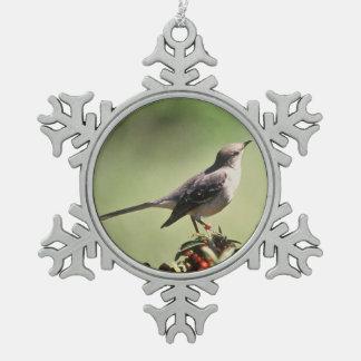 Northern mockingbird pewter snowflake ornament