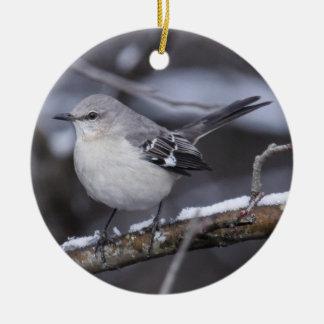 Northern Mockingbird Round Ceramic Ornament