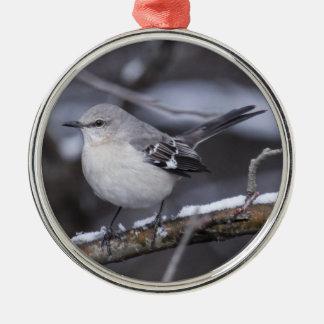 Northern Mockingbird Silver-Colored Round Ornament