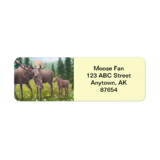 Northern Moose Family Customizable Return Address Label