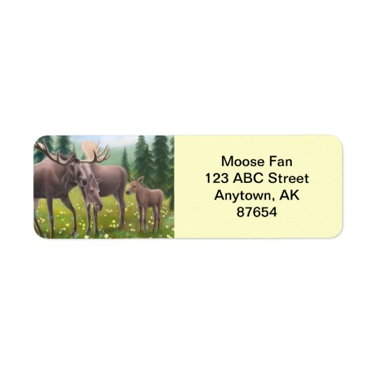 Northern Moose Family Customizable Return Address Label