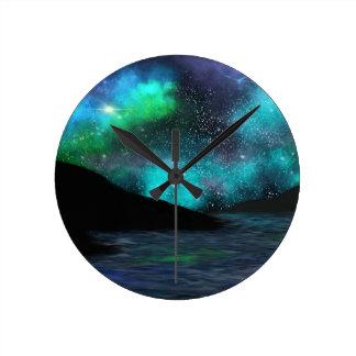 Northern Night Nebula - Blue Wall Clock
