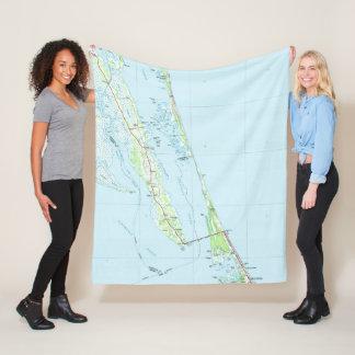 Northern Outer Banks North Carolina Map (1985) Fleece Blanket